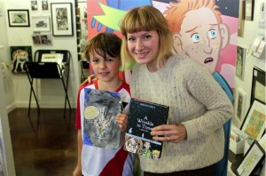 Graphic illustrator Hope Larson with Wrinkle in Time Art Contest winner Crow Thorson