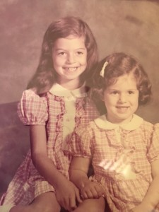 Hillary, age 7, with sister, Leslie, age 4
