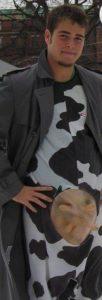 Brett in a cow suit